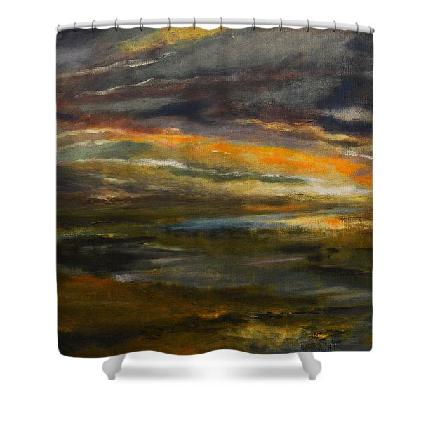 Dusk At The River Shower Curtain