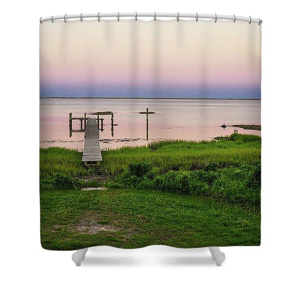 Dusk At Battle Point, Accomac, Virginia Shower Curtain