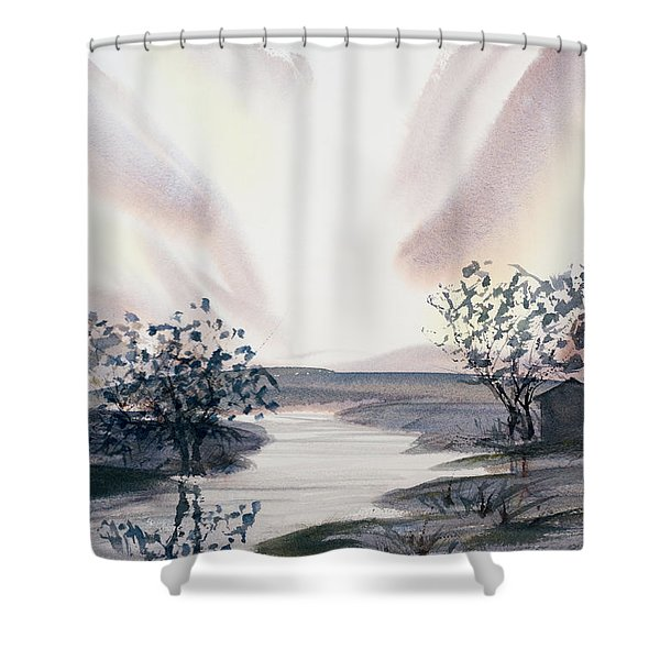 Dusk Creeping Up The River Shower Curtain