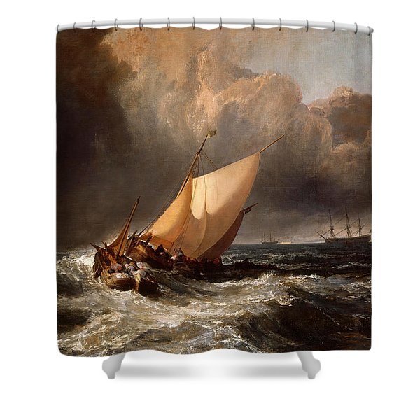 Dutch Boats In A Gale Shower Curtain