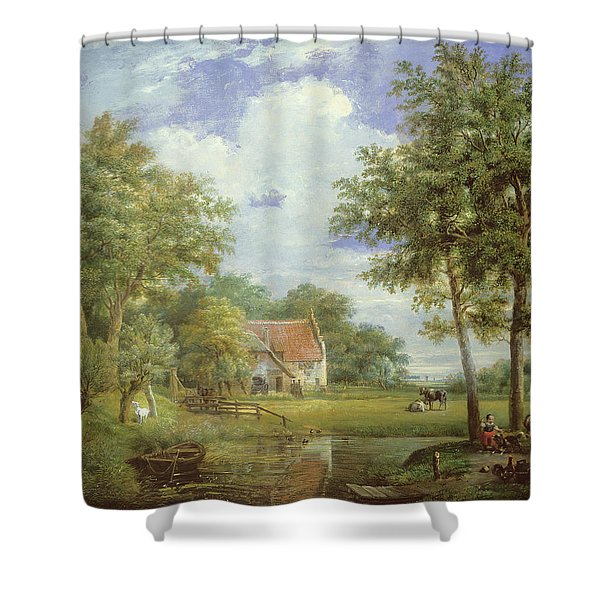 Dutch Farm Scene Shower Curtain