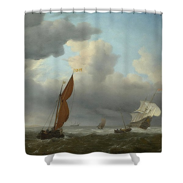Dutch Ship And Other Small Vessels In A Strong Breeze Shower Curtain