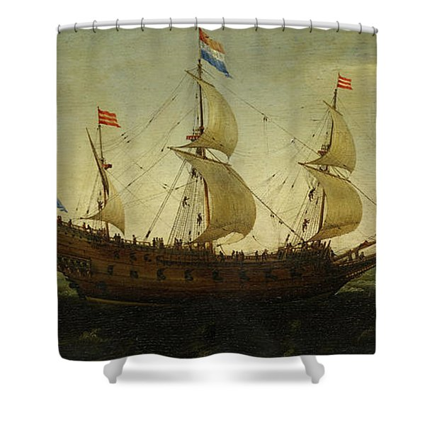Dutch Three Masted And Other Ships Offshore  Shower Curtain