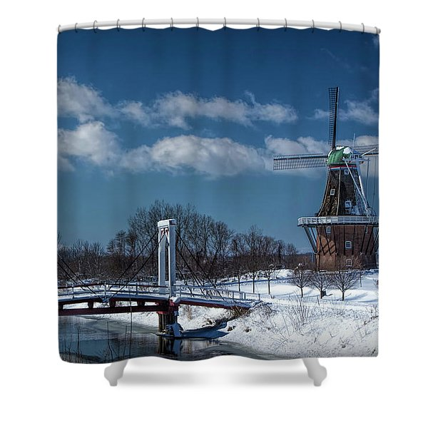 Dutch Windmill And Supension Bridge During Winter  Shower Curtain