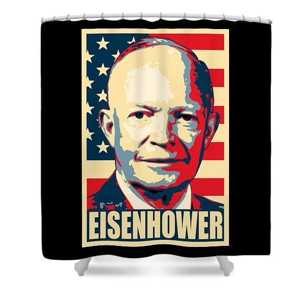 Dwight D. Eisenhower Amercian Propaganda Poster Art Shower Curtain
