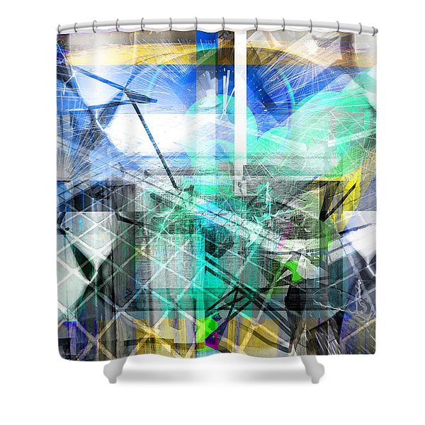 Dynamic Cubes Shower Curtain