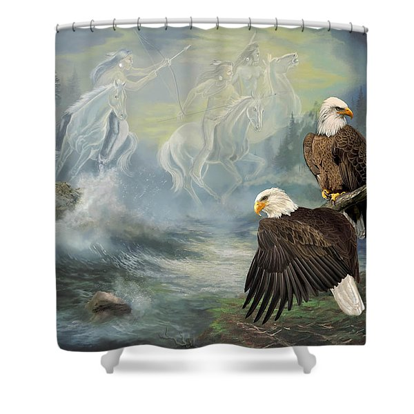 Eagels And Native American  Spirit Riders Shower Curtain