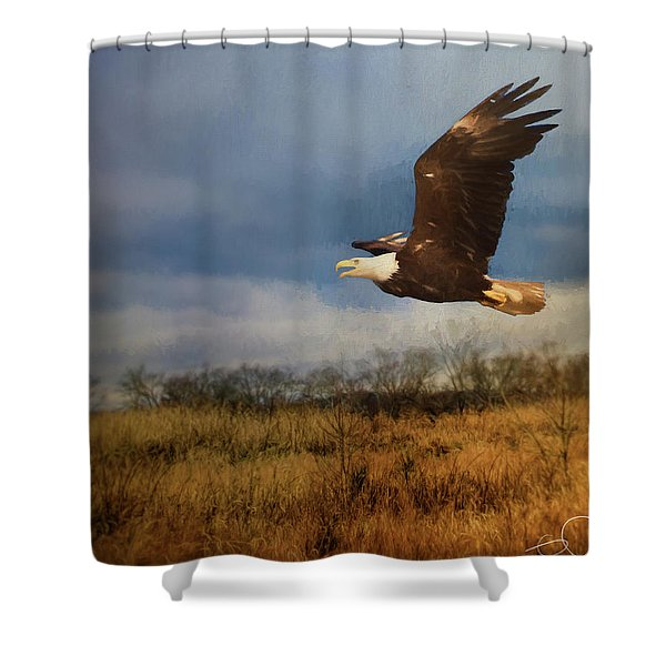 Eagle Over The Field Shower Curtain