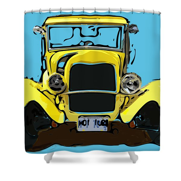 Early 1930s Ford Yellow Shower Curtain