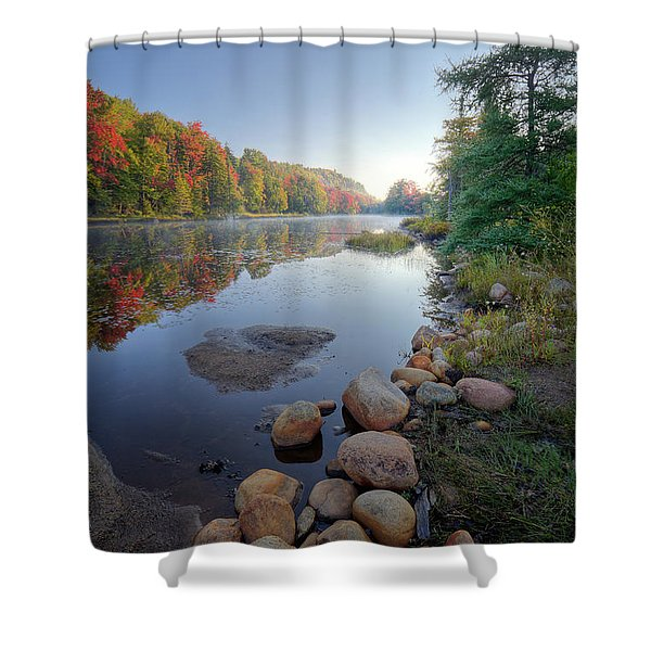 Early Color On Bald Mountain Pond Shower Curtain