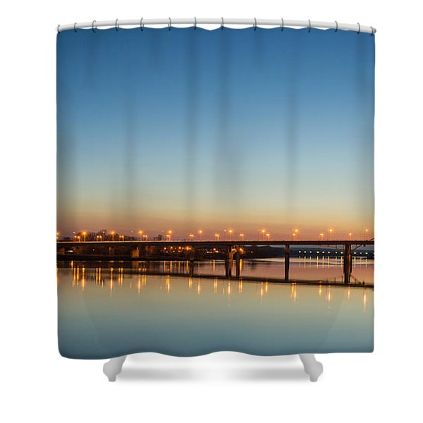 Early Evening Bridge At Sunset Shower Curtain