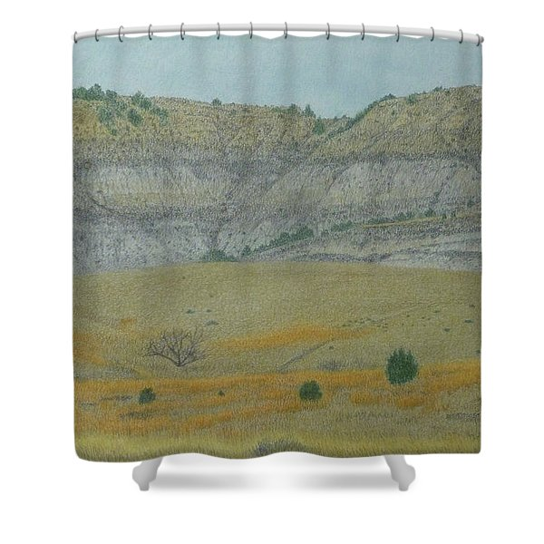 Shower Curtain featuring the pastel Early May On The Western Edge by Cris Fulton