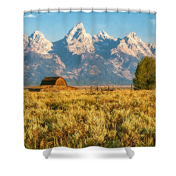 Early Morning At Moulton Barn Shower Curtain