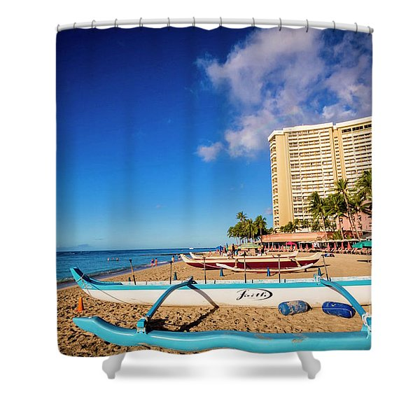 Early Morning At Outrigger Beach,hawaii Shower Curtain