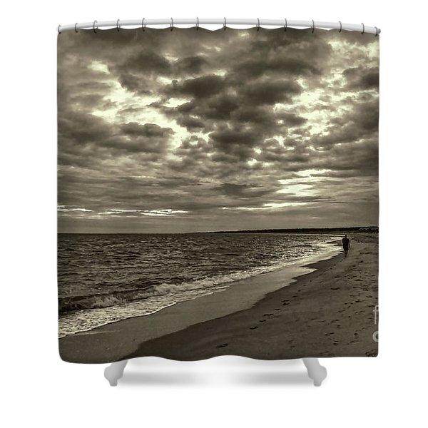 Early Morning Walk On Virginia Beach Shower Curtain