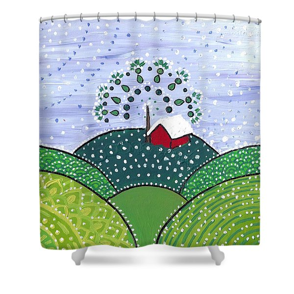 Early Snow On The Little Red Barn Shower Curtain