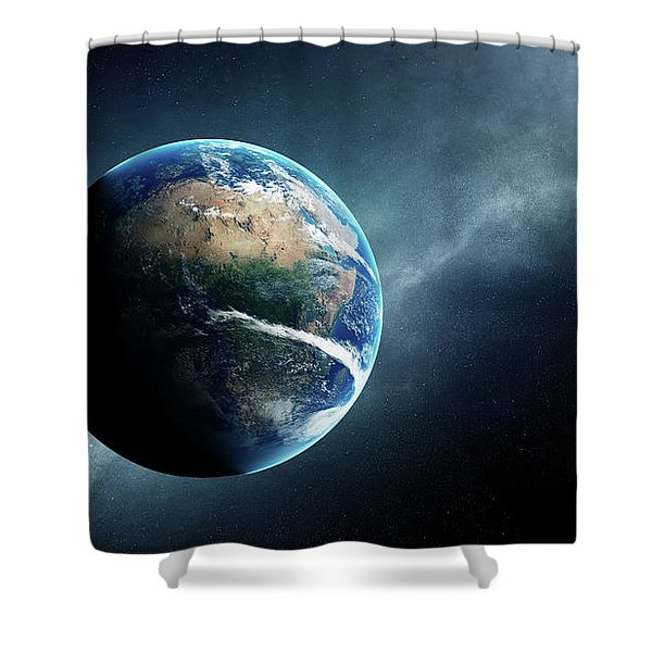 Earth And Moon Space View Shower Curtain