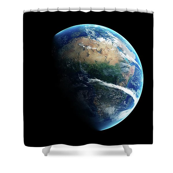 Earth Day And Night Space View Shower Curtain