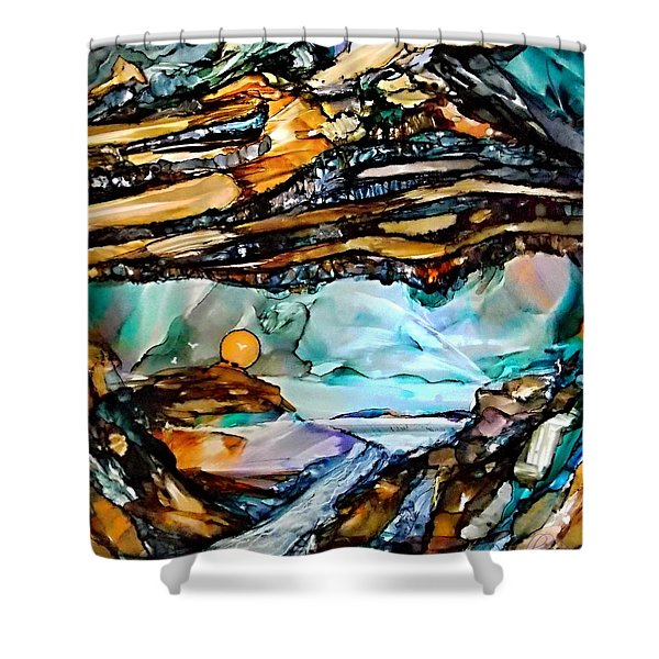 Earth Day Underground Paradise Alcohol Inks Shower Curtain