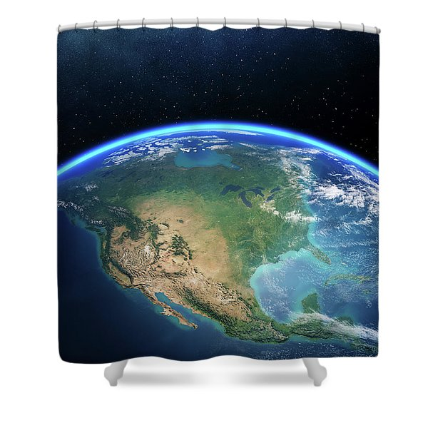 Earth From Space North America Shower Curtain