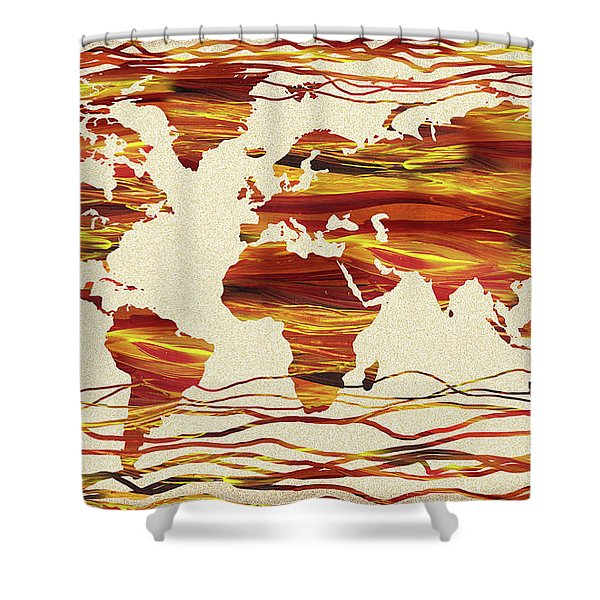 Earthy Lines World Map Abstract Shower Curtain