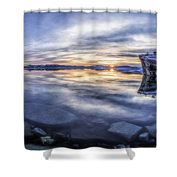 East Shore Sunset Shower Curtain