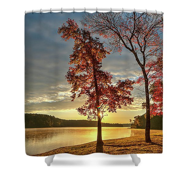 East Texas Autumn Sunrise At The Lake Shower Curtain