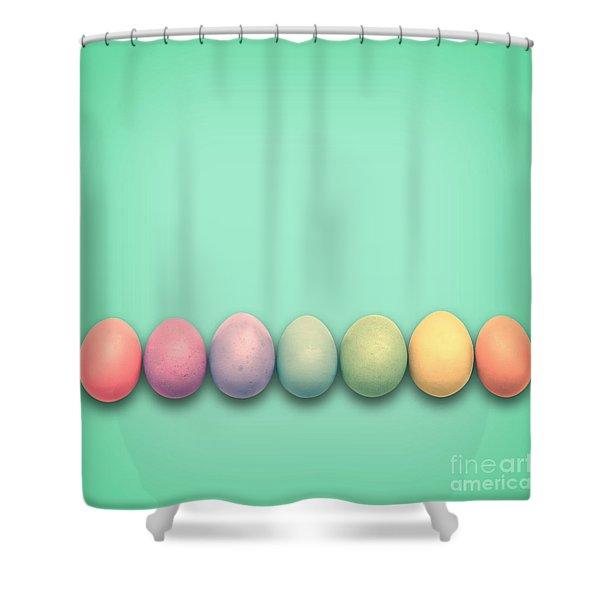 Easter Eggs, Green Shower Curtain