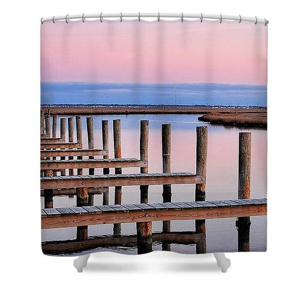 Eastern Shore On The Docks Shower Curtain