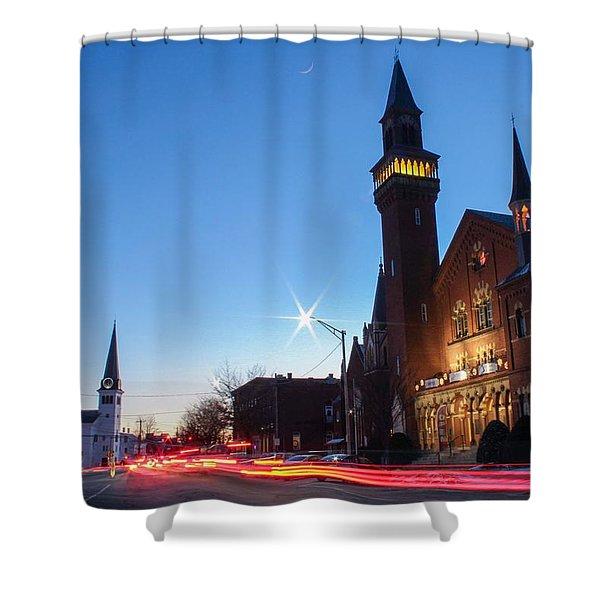 Shower Curtain featuring the photograph Easthampton Crescent Moon by Sven Kielhorn