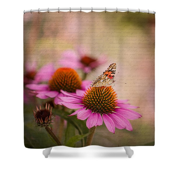 Echinacea And Butterfly Shower Curtain
