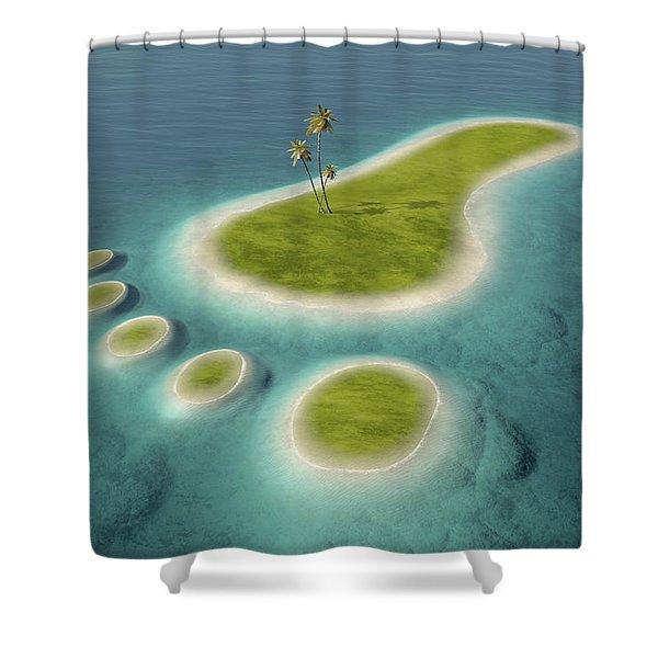 Eco Footprint Shaped Island Shower Curtain