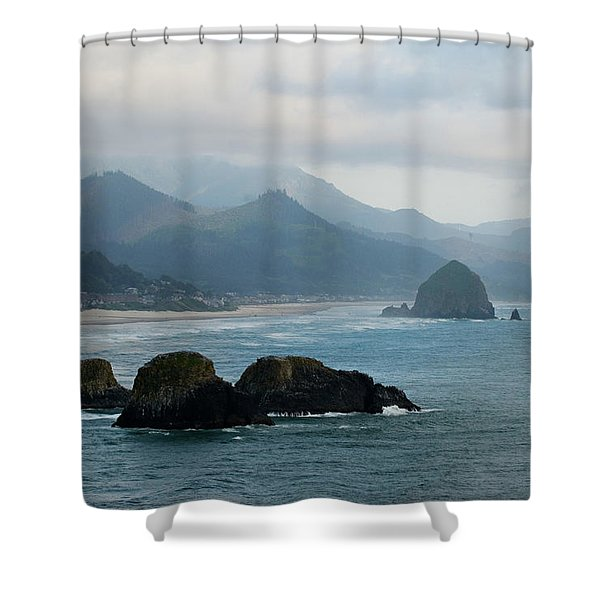 Ecola State Park View Of Haystack Rock And 3 Arch Rocks Shower Curtain