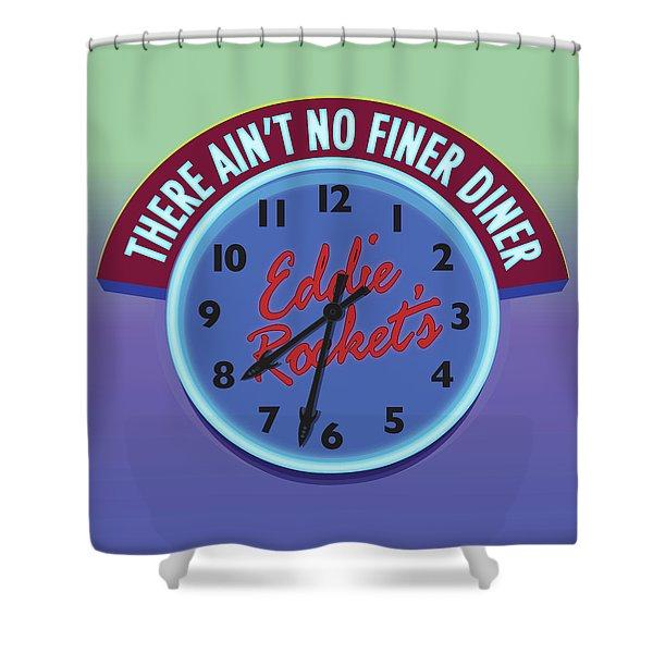 Eddie Rocket Clock Shower Curtain