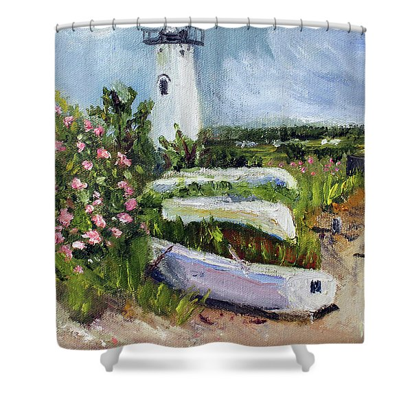 Edgartown Light And Her Entourage Shower Curtain