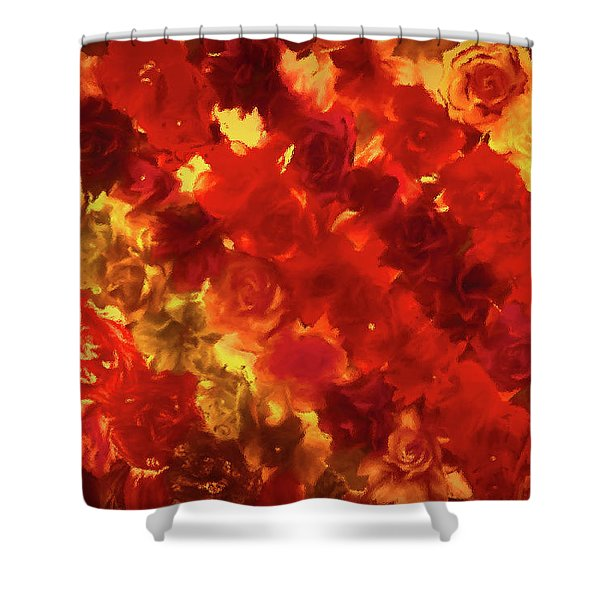 Edgy Flowers Through Glass Shower Curtain