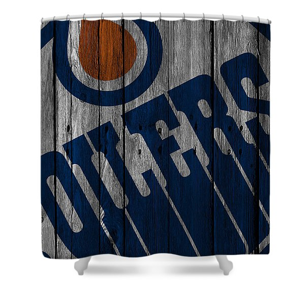 Edmonton Oilers Wood Fence Shower Curtain