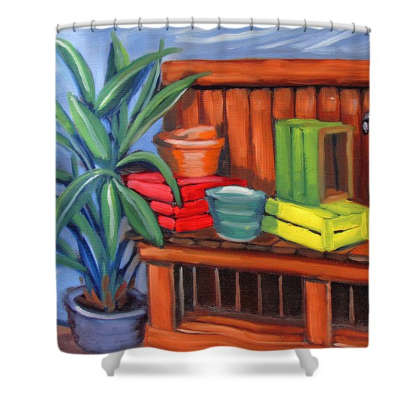 Edwards Nursery Potting Bench Shower Curtain