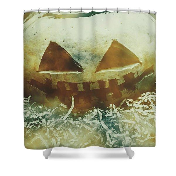 Eerie Ghoulish Halloween Pumpkin Head Shower Curtain