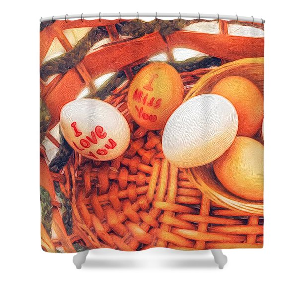 Eggs In A Wooden Basket Shower Curtain