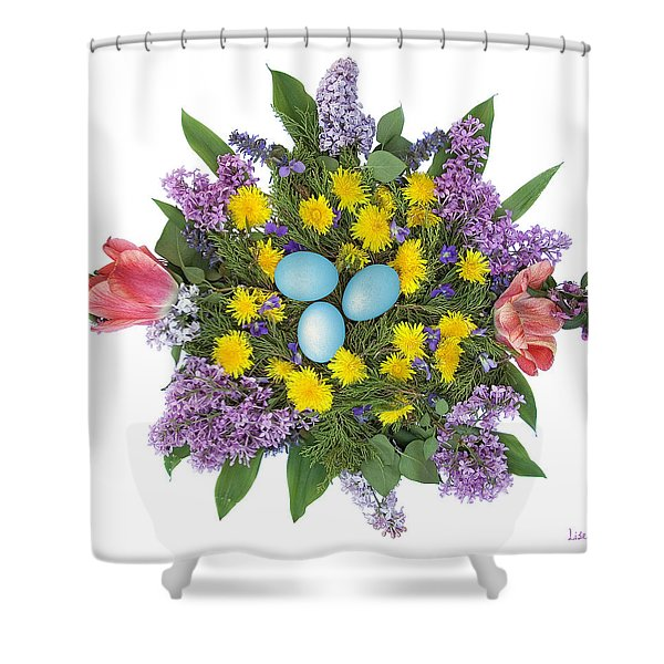 Eggs In Dandelions, Lilacs, Violets And Tulips Shower Curtain