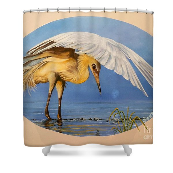 Chloe The  Flying Lamb Productions                  Egret Fishing Shower Curtain
