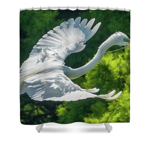Egret Flying With Twigs Shower Curtain