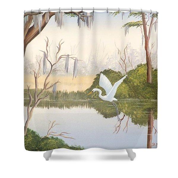 Egret In Flight 1 Shower Curtain