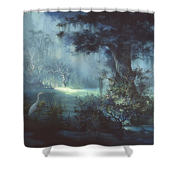 Egret In The Shadows Shower Curtain