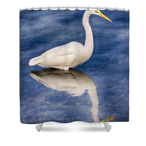 Egret Reflection On Blue Shower Curtain