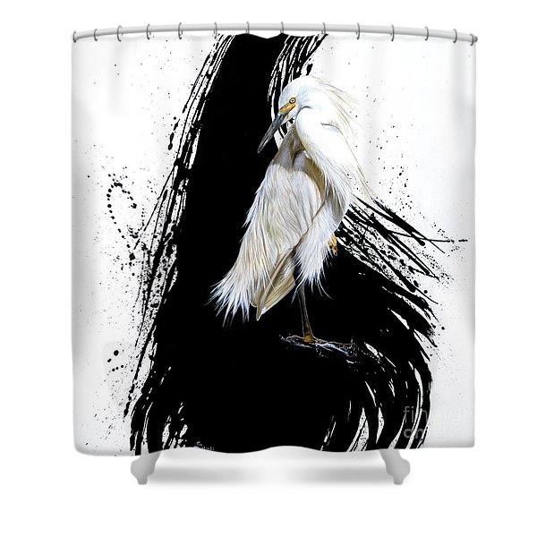 Shower Curtain featuring the painting Egret by Sandi Baker
