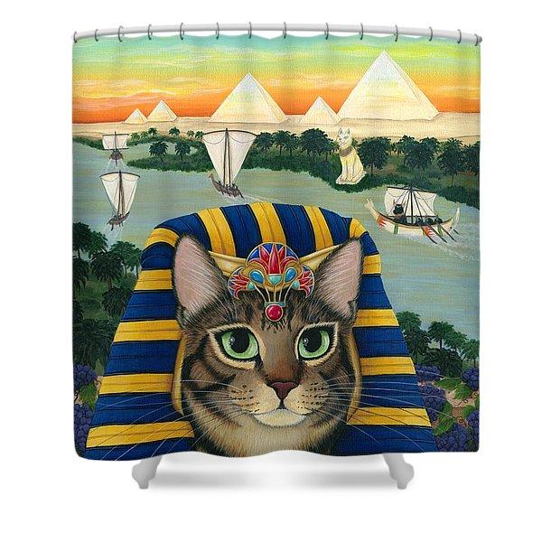Egyptian Pharaoh Cat - King Of Pentacles Shower Curtain