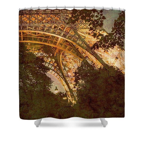 Paris, France - Eiffel Oldplate II Shower Curtain