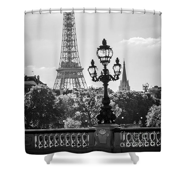 Eiffel Tower And Bridge Alexandre IIi Shower Curtain